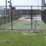 8 ft Black Vinyl Coated Chain Link Fence - Softball Pitching Area