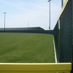 8 ft. Transition to 16 ft Green Vinyl Coated Chain Link Fence - Baseball Field