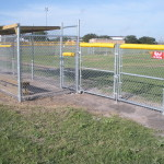 Galvanized Chain Link Baseball Dugout Enclosure and Double Swing Gates