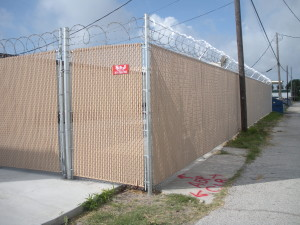 8 ft Commercial Grade Chain Link Security Fence with Privacy Slats and Razor Ribbon