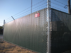 6 ft Industrial Grade Chain Link Security Fence with Green Privacy Slats
