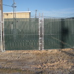 6 ft Industrial Grade Chain Link Security Fence Double Swing Gates with Green Privacy Slats