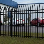 7 ft. Pressed Point High Security Aluminum Fence with Radius Top