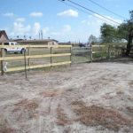 3-Rail Wood Fence with Wire Backing, Galvanized Ranch Gate
